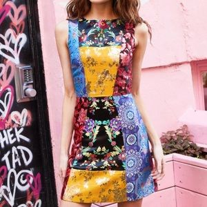 Alice + Olivia Malin Patchwork Brocade Dress